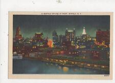 Buffalo Skyline At Night NY Vintage USA Postcard 509a