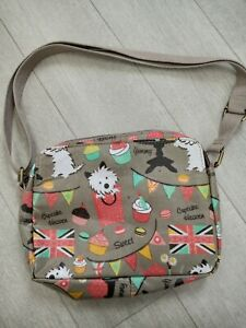 Women Grey Dog and Cup Cake Cross Body Bag girls Gift