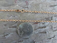 "10 KT Rose Pink Gold Light Link Cable Rope Chain Necklace 30"" Long Length NEW"