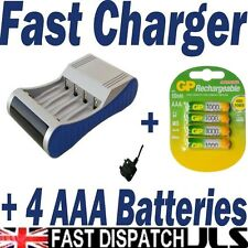 FAST BATTERY CHARGER Supplied with 4 GP AAA 1000 Series Rapid NiMH NiCD mah