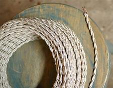 blanc ivoire TORDUE chiffon RECOUVERT FIL, vintage POWER CORD, antique lampes,