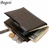 Men's Leather Wallet ID Credit Card holder Bifold Coin Purse Pocket Money Clip