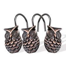 Dimaka Bronze Owl Shower Curtain Hooks,12 Pcs Stainless Shower Curtain Rings