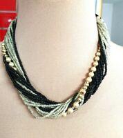 Vintage Czech black beige lustre seed faux pearl glass beads necklace clasp clos