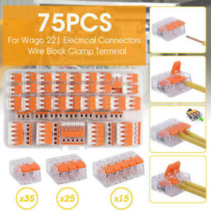 75x For Wago 221 Electrical Connectors Wire Block Clamp Terminal Cable Reusable~