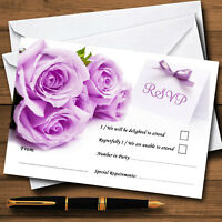 Beautiful Lilac / Purple Rose Personalised Wedding or Party RSVP Cards