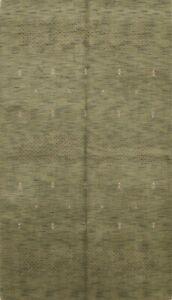 Abstract Moss Green Modern Gabbeh Oriental Area Rug Hand-knotted Wool Carpet 6x8
