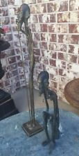 """Vintage Bronze / Brass Carved African Figures, Pair 17""""  Male & Female Carved"""
