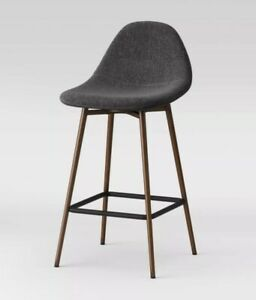 Copley Upholstered Counter Height Barstool Dark Gray / Brass,  Project 62
