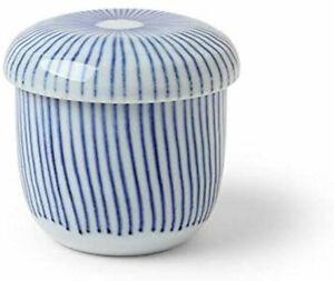 "Japanese 3.25""D Porcelain Blue Line Chawanmushi Custard Bowl CupI /Made in Japan"