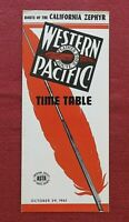1961 WESTERN PACIFIC RAILROAD RAILWAY CALIFORNIA ZEPHYR TIMETABLE BROCHURE NICE