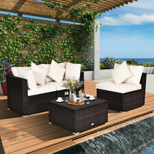 4PCS Patio Rattan Wicker Sofa Furniture Set Cushioned Conversation Ottoman Set