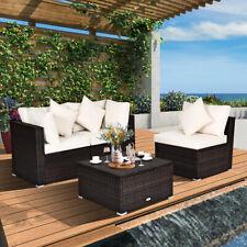 4PCS Patio Rattan Wicker Sofa Furniture Set Cushioned Conversation Ottoman Set