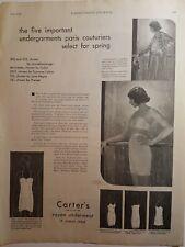 1930 women's Carter's rayon underwear girdle bra vintage Paris couturiers ad