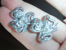 Vintage Antique Old Silver Tone Marcasite Clover Leaf 20mm CLIP ON Earrings