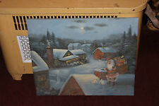 Original Christmas Santa Claus Painting-Snow Country Homes Toys-Signed Lisa