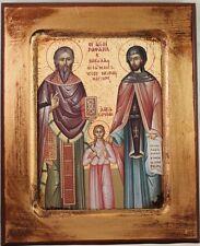 Greek Orthodox Icon of Saints Nicholas, Raphael and Irene
