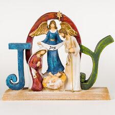 Joy To The World Angel Mary Joseph Baby Jesus Nativity Scene Christmas Deco