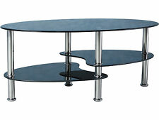 Less than 60cm High Glass Oval Coffee Tables with Shelves