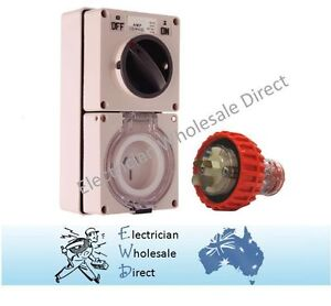 3 Pin 20 Amp 240V Switched Socket Outlet with Plug IP66 Weatherproof Switch