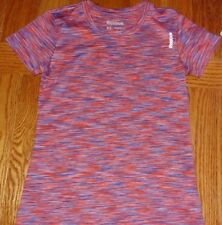 EUC WOMAN'S REEBOK VARIEGATED PINK BLUE RED SPORTS/ATHLETIC TOP -- XSMALL  XS