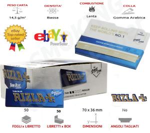 KIT 1.250 Cartine Corte Rizla  Blue Sigarette Blu  Regolare 25 Libretti