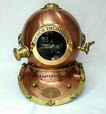 Rare Copper Antique Anchor Diving Helmet Vintage US Navy Mark V Divers Helmet DH