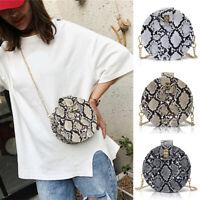Women Snakeskin Grain Chain Round Bag Small Shoulder Crossbody Messenger Bag