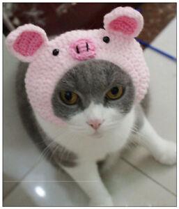 Pet Cat Kitten Pink Pig Woolen Cap Hat Headdress Cat Knitted Headgear HAT