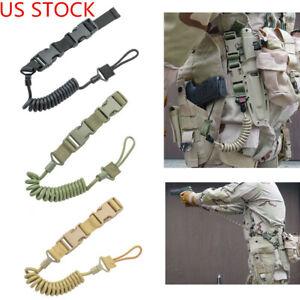 Tactical Secure Lanyard Spring Pistol HandGun Sling Shooting Hunting Accessories