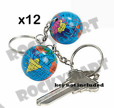 ( LOT OF 12) Globe Key Chains Party Favors Earth Planet Key Ring