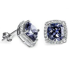 Cushion Cut Tanzanite & Cz .925 Sterling Silver Earrings