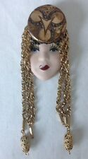 Exotic Lady Head Face Brooch Pin Porcelain Gold Dangle Chain Headdress