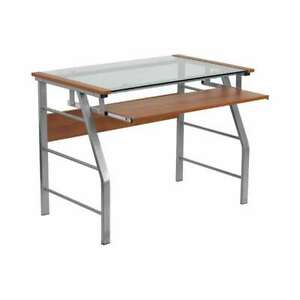 Flash Furniture Glass Computer Desk With Pull-Out Keyboard [NAN-JN-2940-GG]