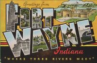 Vintage Antique Indiana IN Postcard Big Large Letter Greetings from Fort Wayne