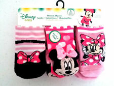 6 New Pairs Disney Minnie Mouse Infant Baby Socks 6-12 months Rattle Pom Girls