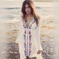 70s Ladies Mexican Boho Floral Embroider Mini Dress Bathing Tops Blouse Vintage