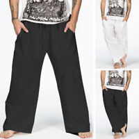 Mens Baggy Loose Wide Leg Straight Pants Casual Plain Yoga Linen Cotton Trousers