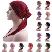 Muslim Women Long Tail Hat Ladies Bandana Scarves Head Wrap Hijab Chemo Cap Hat