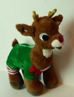 """Build A Bear Rudolph the Red Nosed Reindeer Plush Toy 16"""" BABW Nose Blinks"""
