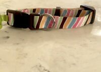 Small Dog Collar Adjustable Top Paw Stripes Pink Blue  Yellow Neck 10-14 in USA