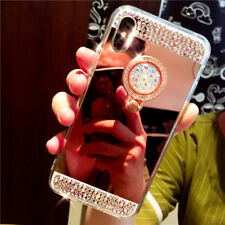 For Samsung S8 S9 Luxury Bling Diamond Crystal Ring Holder Mirror Case Cover