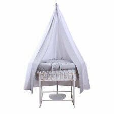 NEW CLAIR DE LUNE GREY WAFFLE WHITE WICKER MOSES BASKET WITH STAND & DRAPE SET