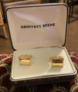 New Mens Geoffrey Beene Gold Rectangle Cable Cufflinks Engravable