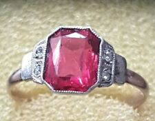 9ct Yellow Gold & Silver vintage Ruby and diamond ring. Size