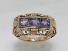 Antiker Ring 585 Gelbgold  Silber  Handarbeit 3 Amethyste Bandring  um 1890