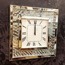 Mobile MODERNO CRISTALLI Smussato Specchio Vetro Quadrato Orologio da parete 50cm Argento 202