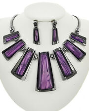 Graduating Purple Statement Hematite Chain Women Necklace Earring Set