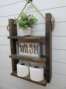 Rustic Farmhouse Hanging Shelf, Rustic Farmhouse Decor, Bathroom Decor
