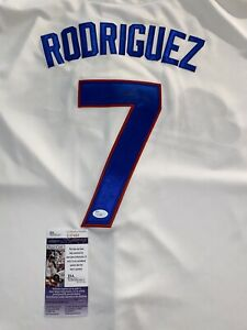 Ivan Pudge Rodriguez Texas Rangers Signed Jersey Faded Autograph See Photo Hof